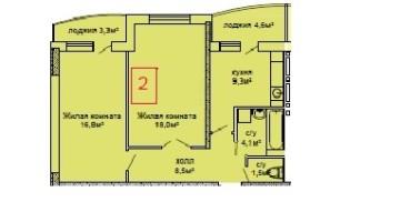 ЖК Вернисаж, 2 комнатная в сданном доме. Восточная сторона